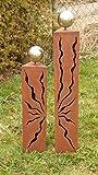Rostsäulen Gartendeko Dreiecke Säulen mit Muster 80cm + 60cm