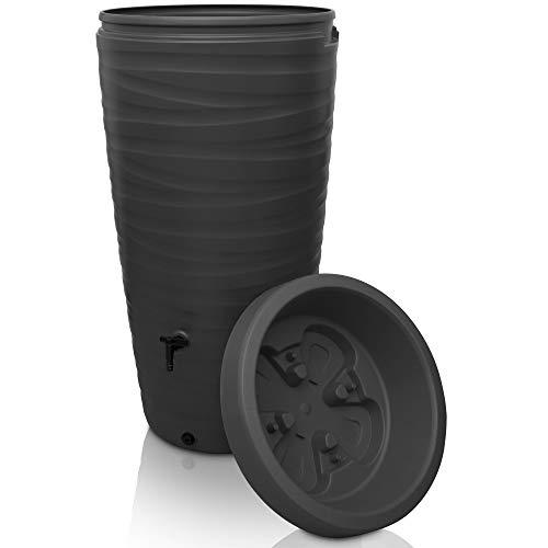 YourCasa Regentonne 240 Liter [Wave Design] Regenfass Frostsicher aus Kunststoff - Regenwassertonne...