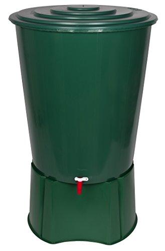 XL Regentonne 310 Liter aus Kunststoff in Grün. Mit sehr robustem Monoblock Stand, Wasserhahn und...
