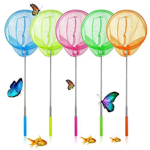 Supamz Schmetterling Net Kinder, 5 Stück Teleskop Kescher Kinder, Ausziehbar Schmetterlingsnetz...